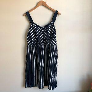 LOFT Navy & White Striped Dress